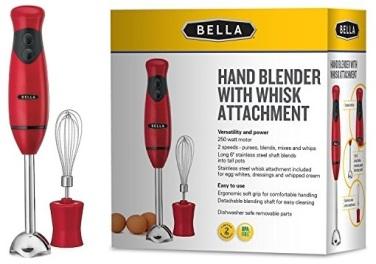 Amazon-BELLA-Hand-Immersion-Blender-with-Whisk-Attachment-250-Watt-RED